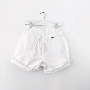 "Vtg 90s White Denim High Waisted Shorts 25"" Waist"